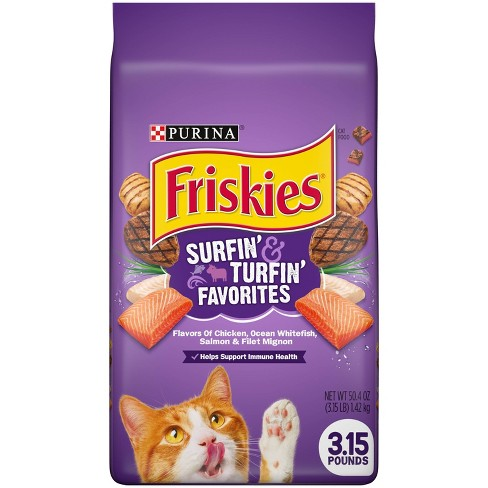 Purina Friskies Surfin&Turfin Favorites with Flavors of Chicken, Whitefish, Salmon & Filet Adult Balanced Dry Cat Food - image 1 of 4