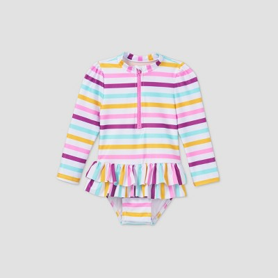 Toddler Girls' Striped Front Zip-Up Skirted One Piece Rash Guard - Cat & Jack™ White