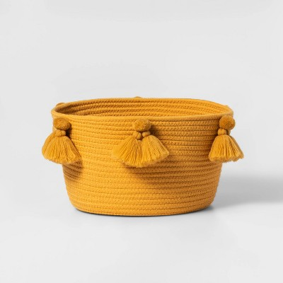 Small Coiled Rope Basket with Tassels Yellow - Pillowfort™