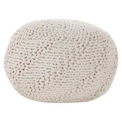 Hazel Pouf Ottoman - Ivory - Christopher Knight Home