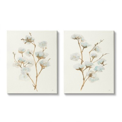Stupell Industries Cotton Flower Stems Rustic Floral Farmhouse Painting