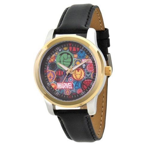 Men's Marvel® Classic Avengers Logo/Captain America/Black Widow/Iron Man Alloy Watch - Black - image 1 of 2