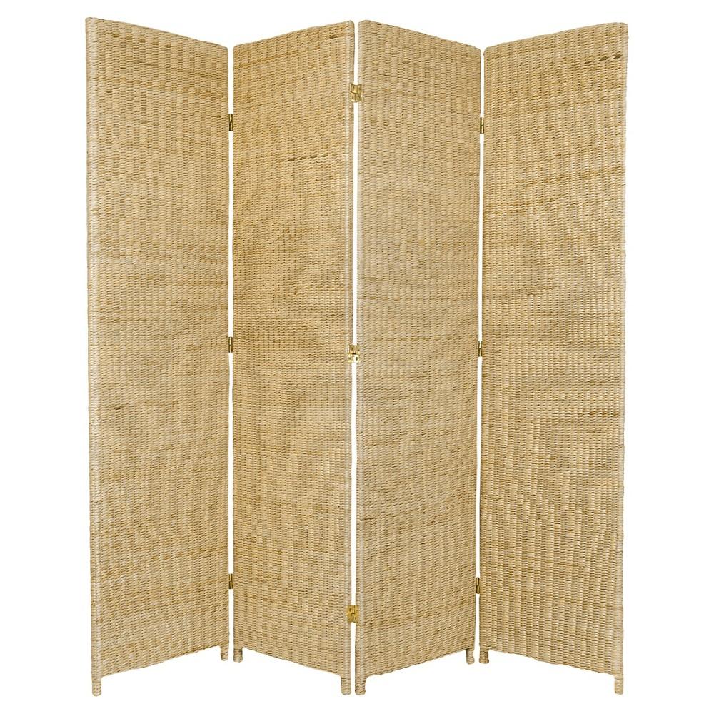 6 ft. Tall Rush Grass Woven Room Divider - Natural (4 Panels)