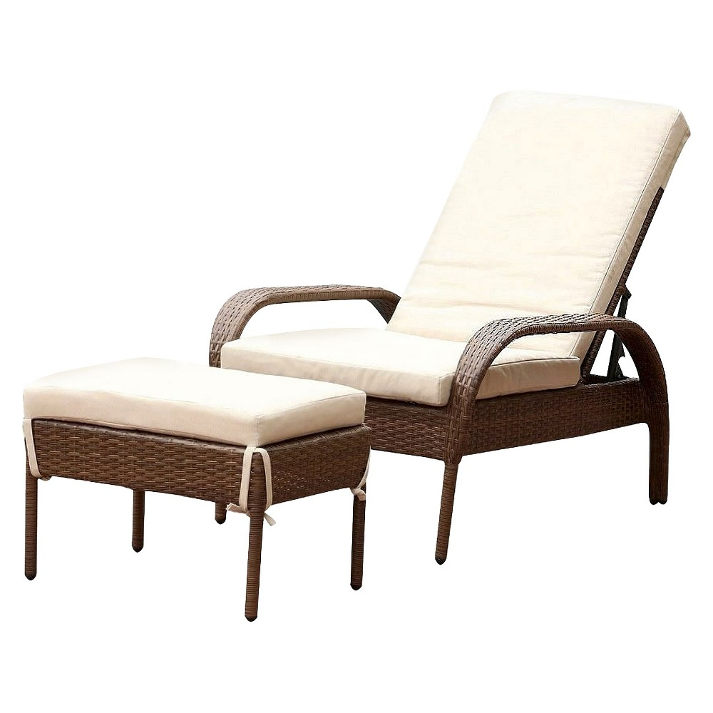 Image of 2pc Manchester Outdoor Wicker Chaise Lounge with Cushion & Ottoman Brown - Abbyson Living