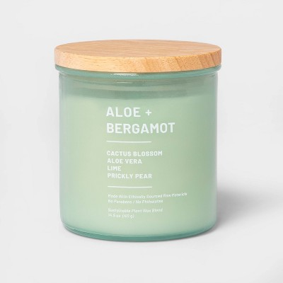 14.5oz Lidded Glass Jar 3-Wick Wellness Candle Aloe and Bergamot - Project 62™