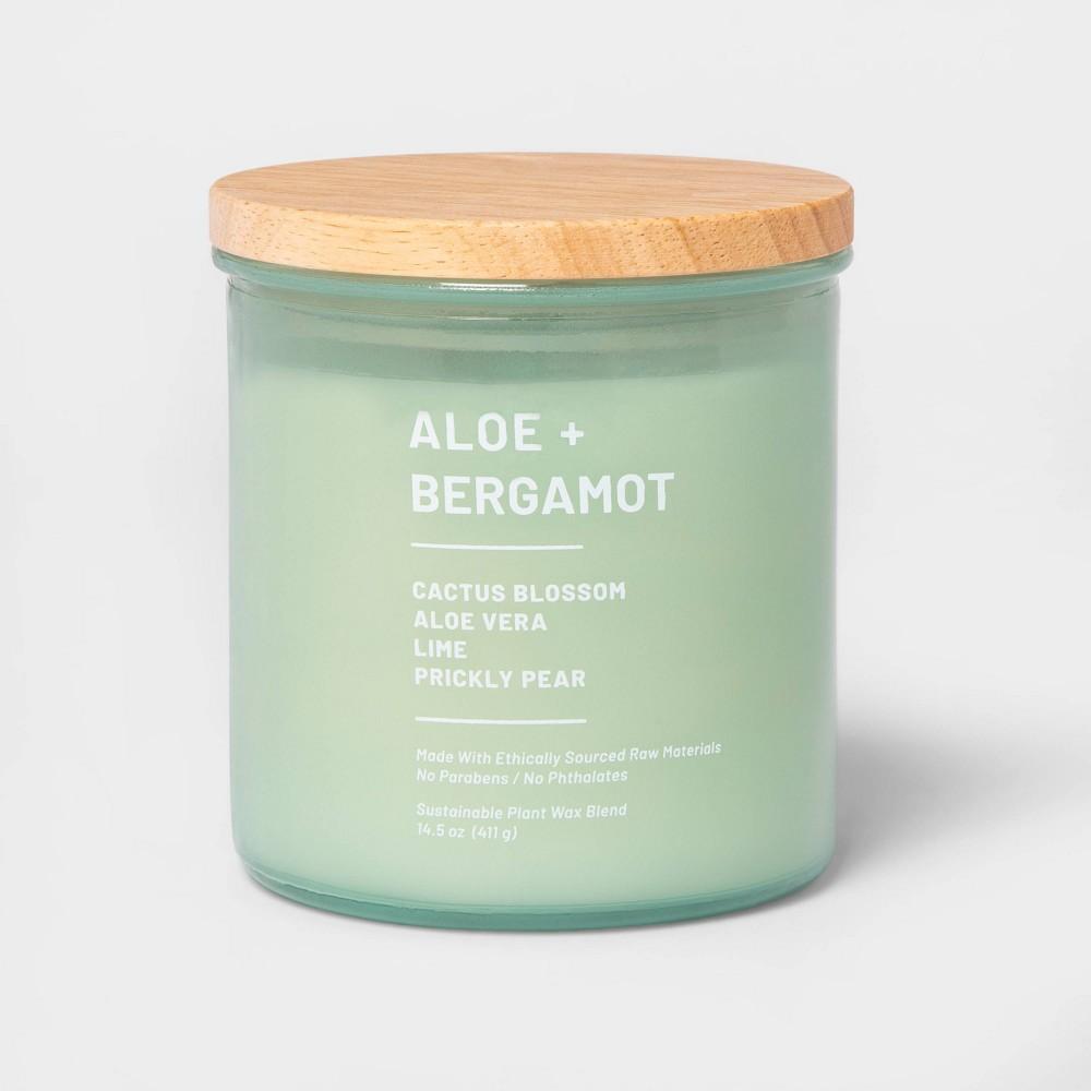 Image of 14.5oz Lidded Glass Jar 3-Wick Wellness Candle Aloe & Bergamot - Project 62