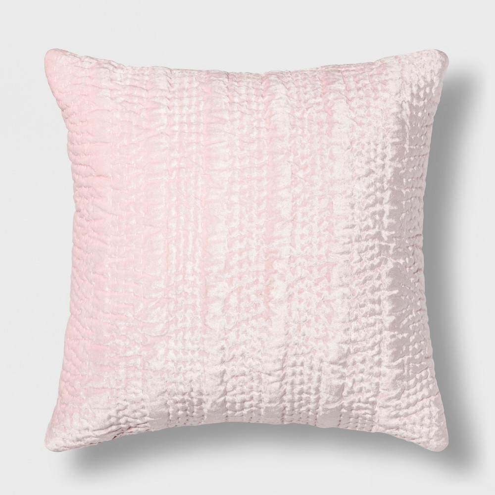Quilted Velvet Square Throw Pillow Pink - Opalhouse