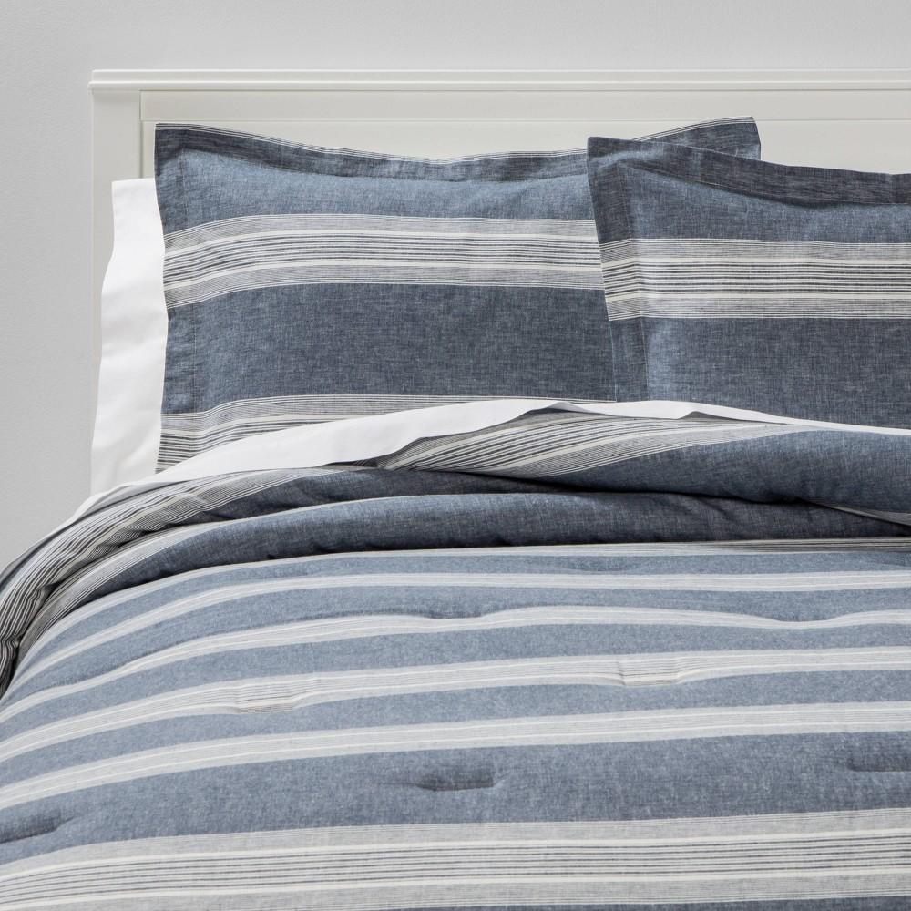 King Chambray Yarn Dye Stripe Comforter 38 Sham Set Blue Threshold 8482