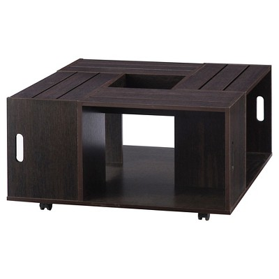 Roseline Modern Crate Box Inspired Coffee Table Espresso - HOMES: Inside + Out