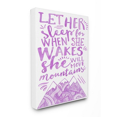 Let Her Sleep Purple Mountains Stretched Canvas Wall Art (16 x20 x1.5)- Stupell Industries