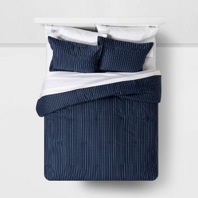 Family Friendly Stripe Comforter & Pillow Sham Set Navy - Threshold™ : Target