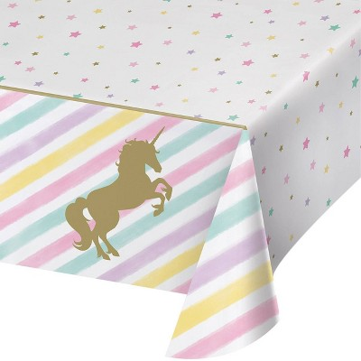 3ct Sparkle Unicorn Plastic Tablecloths