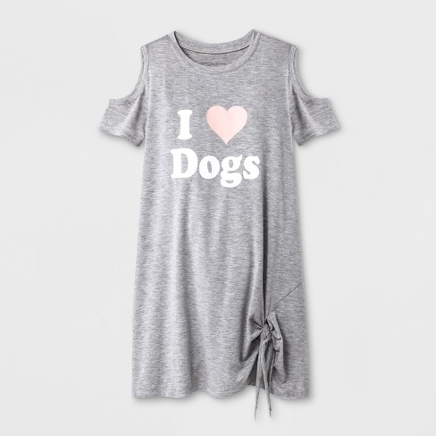 Grayson Social S I Heart Dogs Cold Shoulder T Shirt Dress Heather Gray