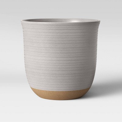 "8"" Stoneware Matte Speckle Glaze With Exposed Clay Planter White - Smith & Hawken™"