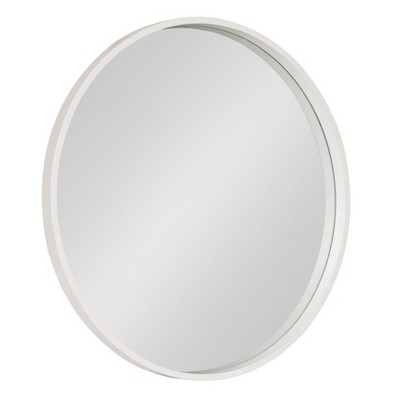 "26"" x 26"" Travis Round Wood Accent Wall Mirror White - Kate and Laurel"