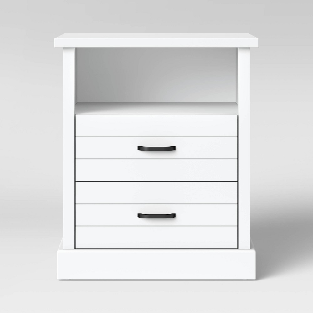 Southwick Farmhouse Nightstand with Drawers White - Threshold