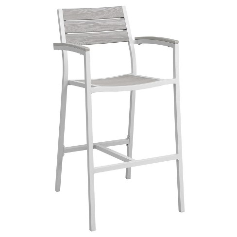 Maine Outdoor Patio Bar Stool in White Light Gray - Modway - image 1 of 3