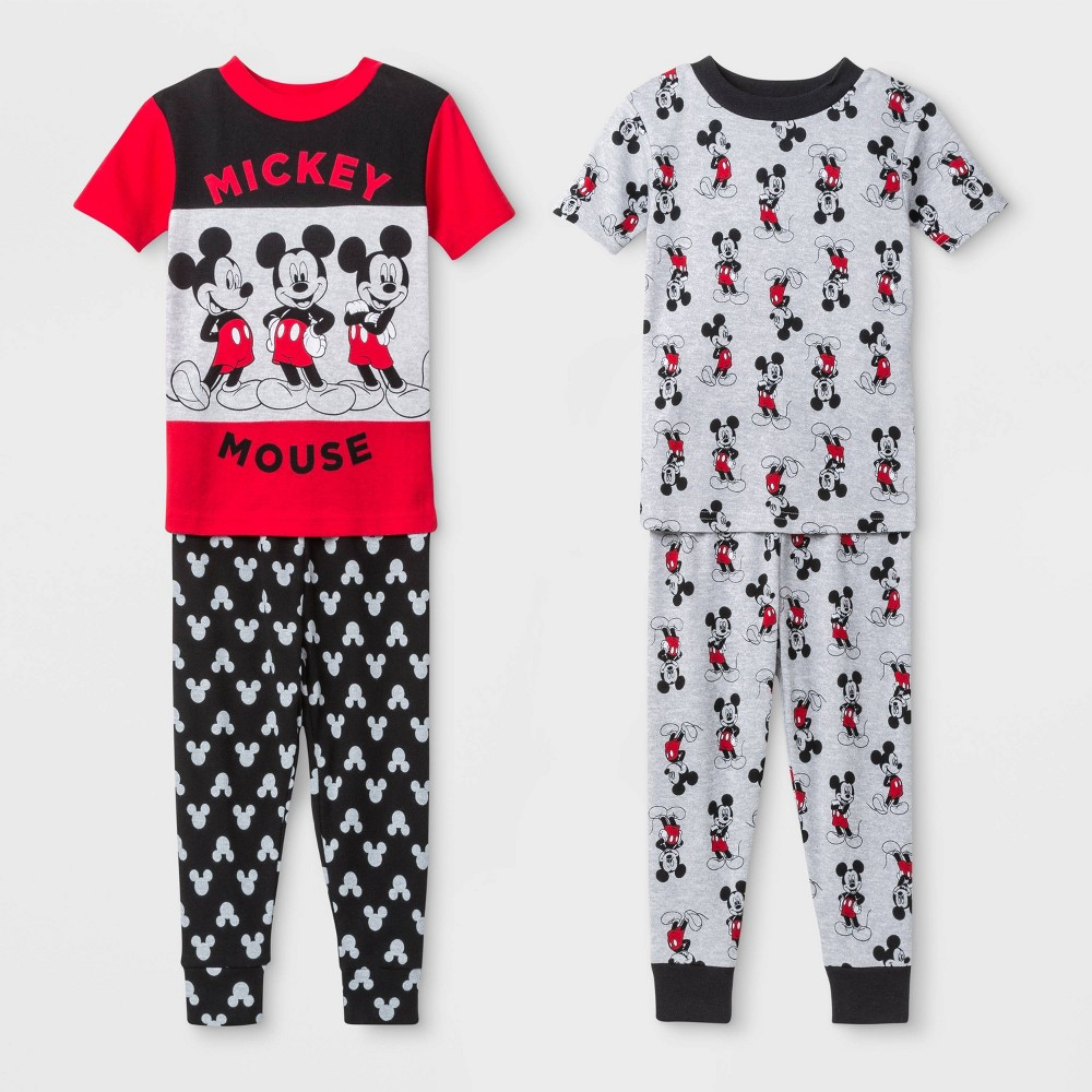 Image of Baby Boys' 4pc Disney Mickey Mouse Pajama Set - Red 12M, Boy's