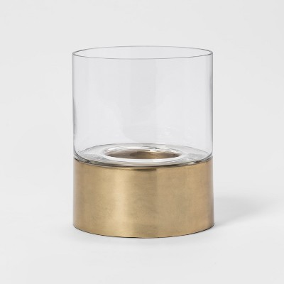 7.2  x 6  Metal Hurricane Pillar Candle Holder Gold - Project 62™