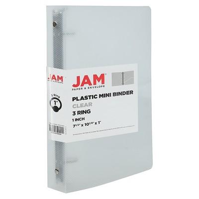 JAM Paper Plastic 1 Inch Mini Binder 7.5 x 10.125 Clear 3 Ring Binder 370531985