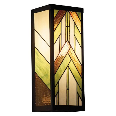 """16.25"""" Stained Glass 1-Light Rectangular Mission Style Outdoor Light Wall Sconce - River of Goods"""