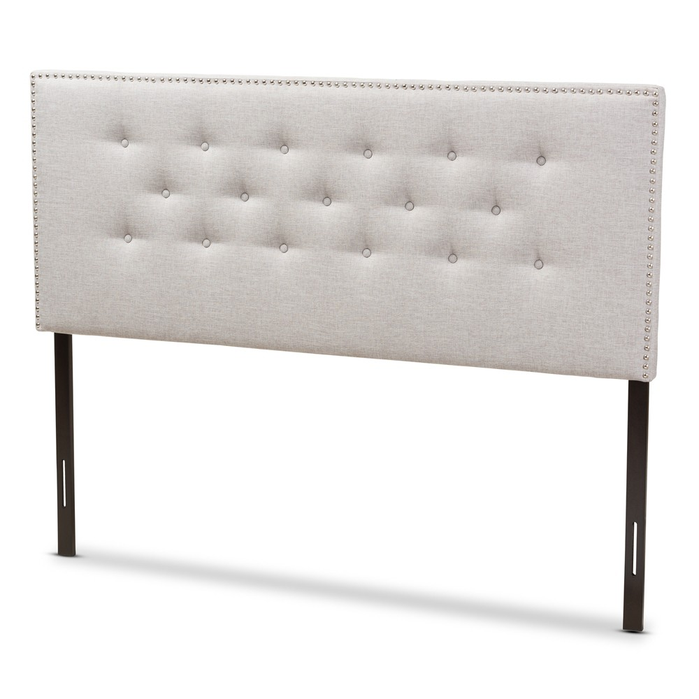Windsor Modern And Contemporary Fabric Upholstered Headboard Beige King - Baxton Studio, Gray