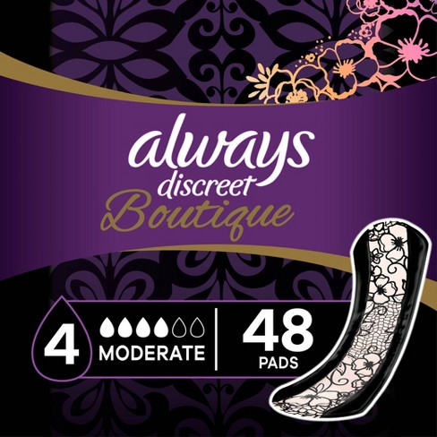 Always Discreet Boutique Incontinence and Postpartum Pads - Moderate Absorbency - Regular Length - 48ct - image 1 of 4