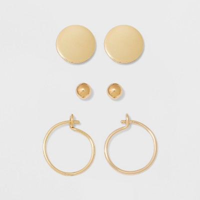 Ball, Flat Circle, and Hoop Earring Set 3pc - A New Day™ Gold