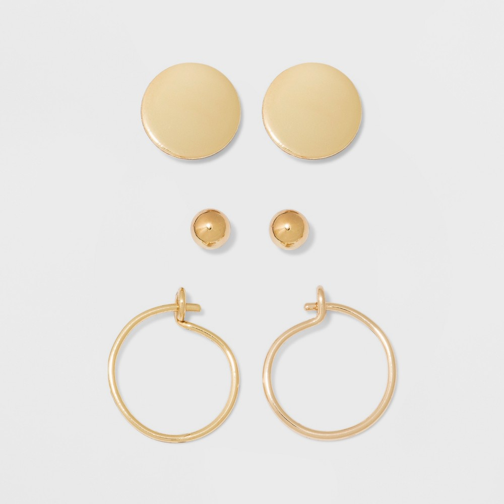 Image of Ball, Flat Circle, and Hoop Earring Set - A New Day Gold, Women's, Size: Small