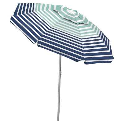 Caribbean Joe 6.5' Beach Umbrella with Tilt and UV Protection - Horizon Stripe Print