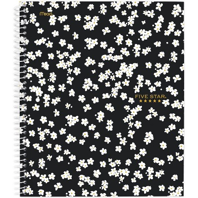 Spiral Notebook 1 Subject College Ruled Mod Daisy Black - Five Star
