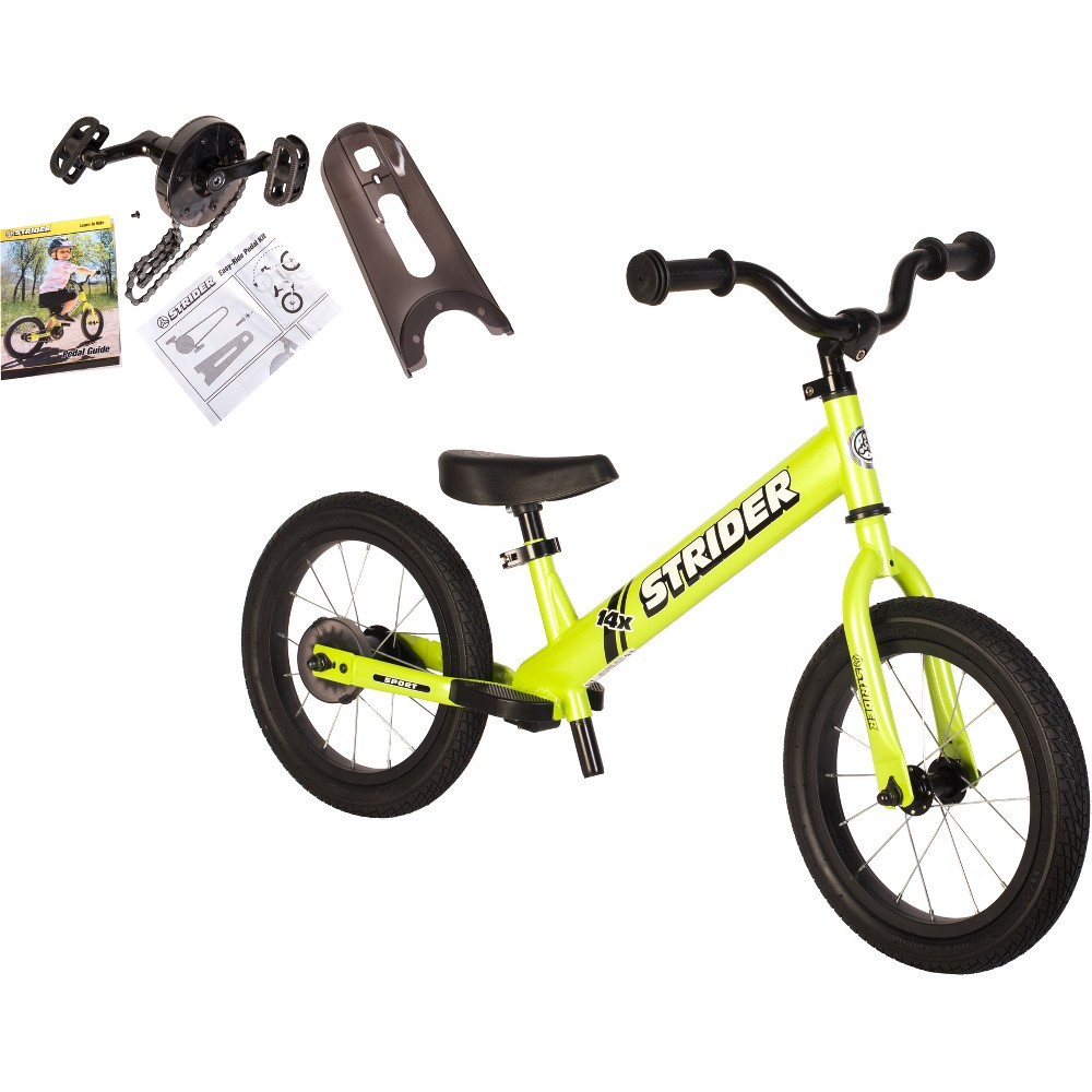 Strider 14x Sport Balance Bike + Easy - Ride Pedal Kit - Green Strider 14x Sport Balance Bike + Easy - Ride Pedal Kit - Green Gender: Unisex. Age Group: Kids.