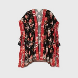 Women's Floral Print Short Sleeve Kimono Jacket - Knox Rose™ Black