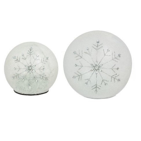 Frosted Snowflake LED Glass Globes Set of 2 - image 1 of 3