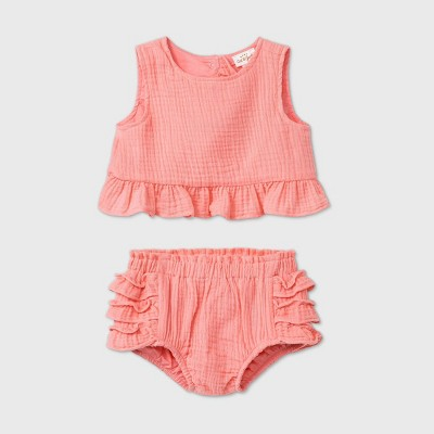 Baby Girls' Gauze Top & Bottom Set - Cat & Jack™ Coral 6-9M