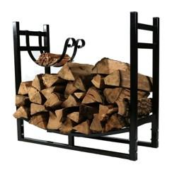 """Firewood Log Rack with Kindling Holder - 33"""" Black - Sunnydaze Decor"""