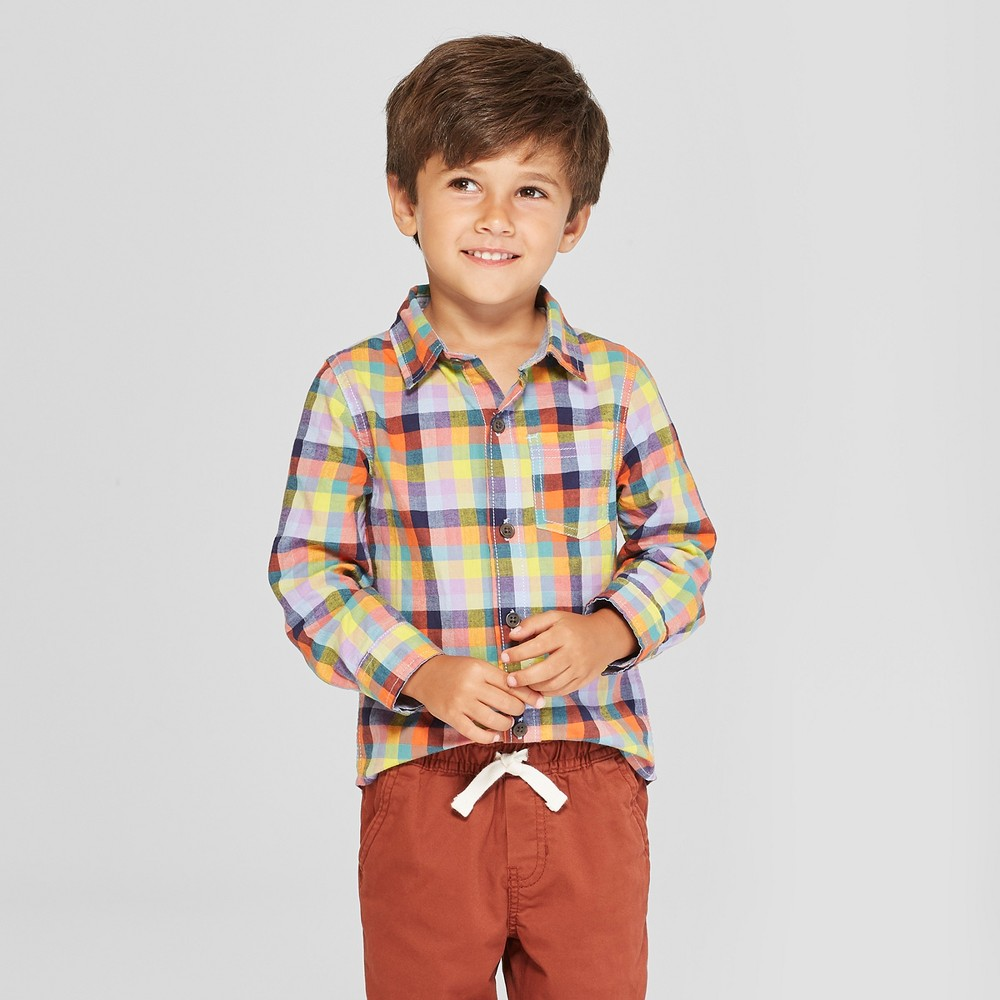 Toddler Boys' Long Sleeve Plaid Button-Down Shirt - Cat & Jack Blue/Yellow 5T