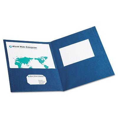 Oxford Twin-Pocket Folder Embossed Leather Grain Paper Blue 25/Box 57502