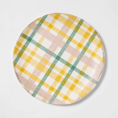 "11"" Melamine Plaid Dinner Plate - Threshold™"