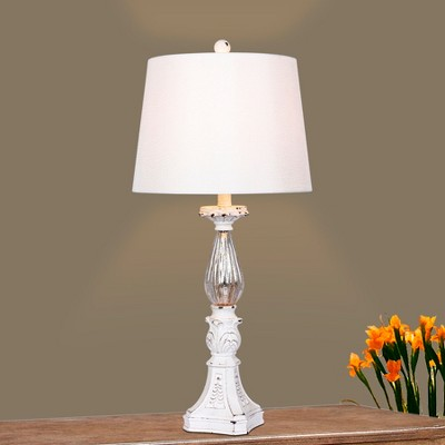 Delicieux Distressed, Filigree Candlestick Mercury Glass Table Lamp Antique White    Fangio Lighting : Target