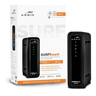 ARRIS SURFboard 16x4 DOCSIS 3.0 Wi-Fi Cable Modem, Model SBG10 (Black)