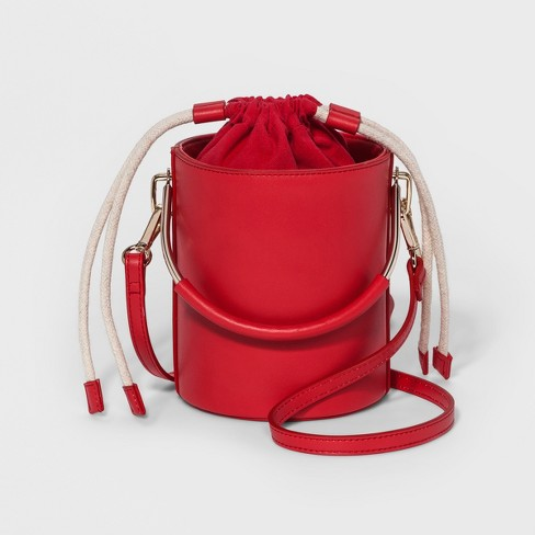 Vertical Metal Handle Bucket Bag - Who What Wear™ Red - image 1 of 4
