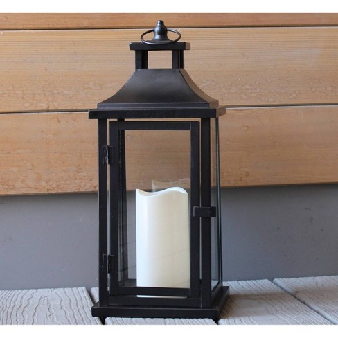 17 5 Battery Powered Led Indoor Outdoor Metal Lantern With Candle Black Haven Way Target