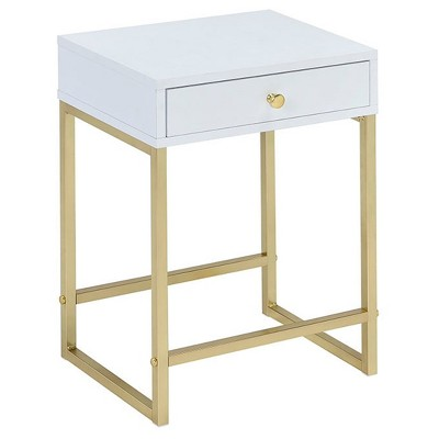 End Table White Brass - Acme Furniture