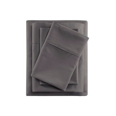 King 600 Thread Count Cooling Cotton Sheet Set Charcoal