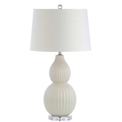 "28.25"" Thatcher Ceramic LED Table Lamp Cream (Includes Energy Efficient Light Bulb)- JONATHAN Y"