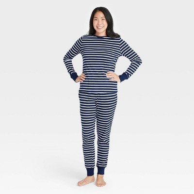 Women's Striped 100% Cotton Matching Family Pajama Set - Navy