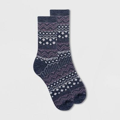 Alaska Knits Women's Wool Blend Striped Stitch Fair Isle Crew Boot Socks - 4-10