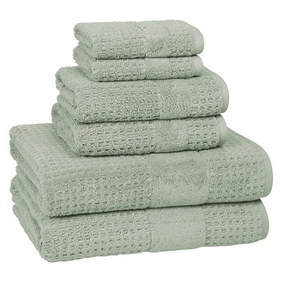 6pc Checkered Bath Towel Set Misty Sage - Cassadecor