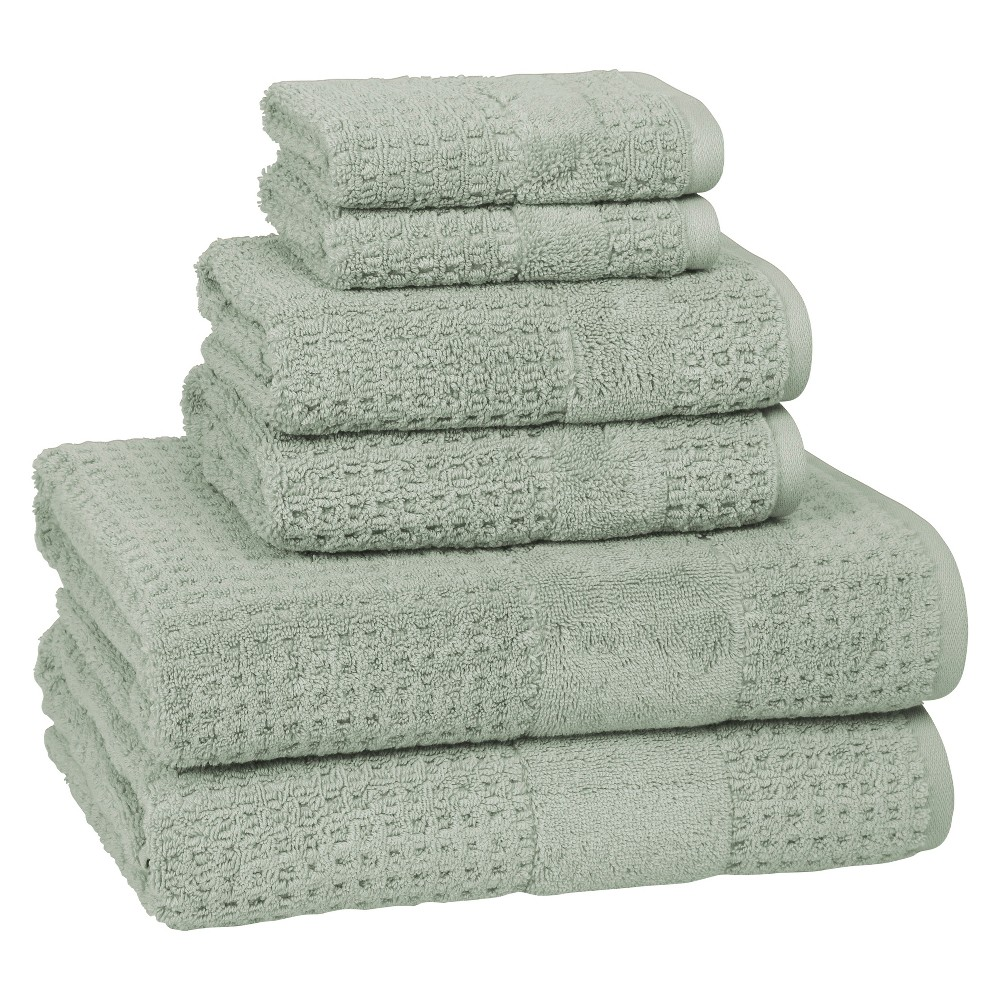 Image of 6pc Checkered Bath Towel Set Misty Sage - Cassadecor, Misty Green